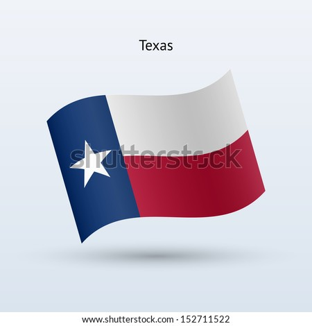 State of Texas flag waving form on gray background. See also vector version. - stock photo