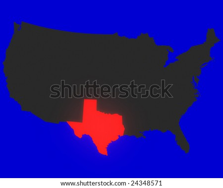 State Of Texas Highlighted Red