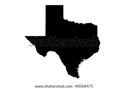 State of Texas - white background - stock photo