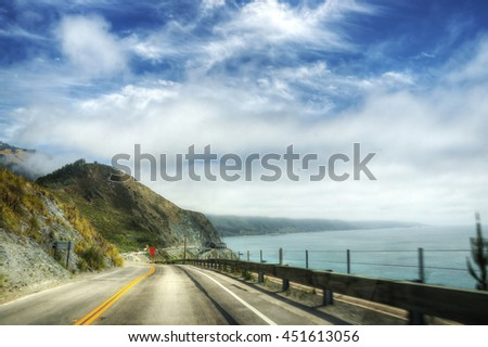 State route one - California shots - USA - june - stock photo