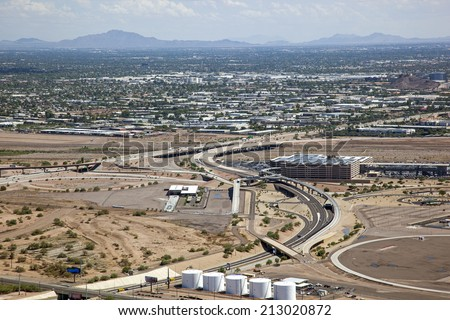 State Route 143 to the airport between Phoenix and Tempe, Arizona - stock photo