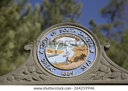 State Seal of the State of South Dakota, in the Black Hills, near Mount Rushmore National Memorial - stock photo