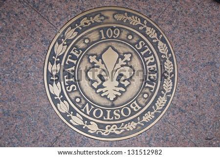 State Street 109 sewer lid, Freedom Trail, Boston, MA - stock photo