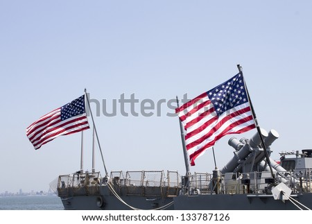 STATEN ISLAND, NEW YORK - MAY 29:Harpoon cruise missile launchers on the deck of US Navy destroyer USS Donald Cook during Fleet Week 2012 on May 29, 2012 in Staten Island, New York - stock photo