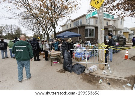 STATEN ISLAND, USA - NOVEMBER 4: The images of devastation caused by the Hurricane Sandy  and rescue services response November 4, 2012 on the streets of Staten Island, USA.