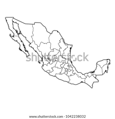 States Mexico On Map Administrative Divisions Stock Illustration