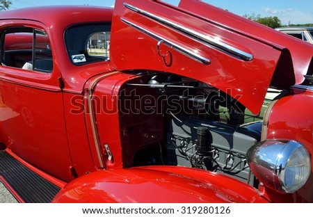 STATHAM, GEORGIA, USA - SEPT 19, 2015: Vintage 1936 automobile displayed at the annual Sun Flower Festival car show at Statham, Georgia. - stock photo