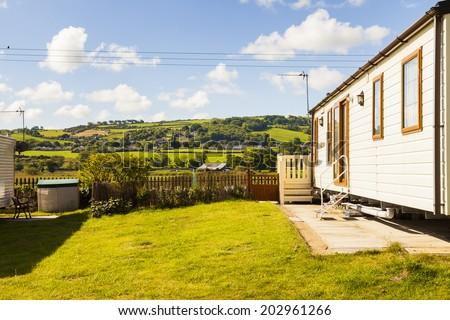 Static caravan holiday home at a U. K. holiday resort. - stock photo