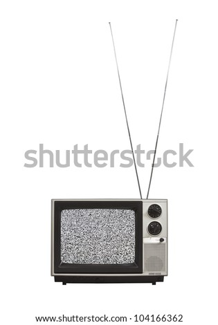 Static screen portable vintage television with long antennas up.  Isolated on white. - stock photo