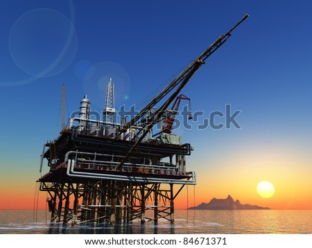 Station for oil in the sea. - stock photo