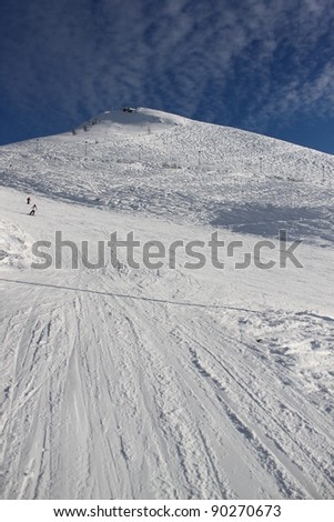 Station of ropeway. Ski resort. Italian Mountains. - stock photo