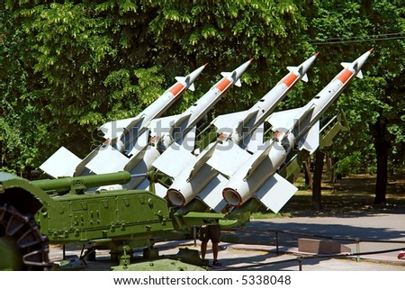 """Station of Russian anti-aircraft missiles of """"S"""" class. Shot in June, near Dnieper river (Dniepropetrovsk, Ukraine). - stock photo"""