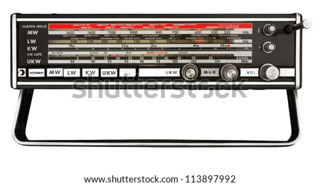 Station scale of old portable transistor radio receiver. Clipping path included - stock photo
