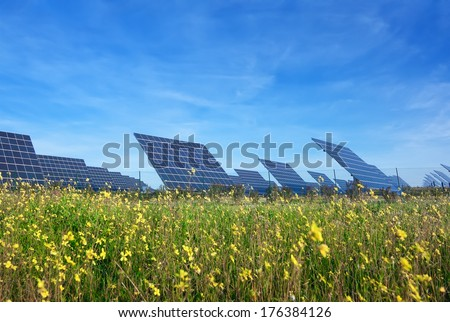 Station solar panels on a beautiful green lawn. For the generation of electricity. - stock photo