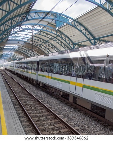 Station with a modern train. - stock photo