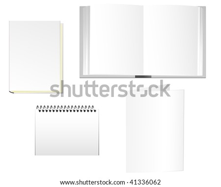 Stationaries of books, notepad and folder. - stock photo