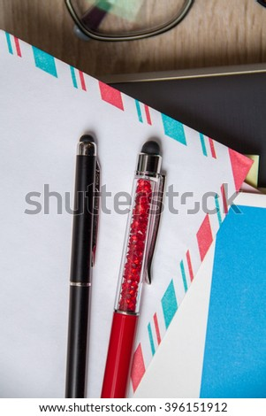 Stationary and pens - stock photo