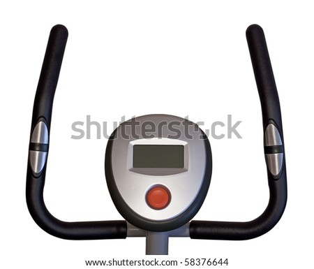 Stationary bicycle isolated in white - stock photo