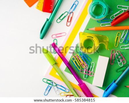 colorful office accessories. Stationery Colorful Writing Tools Accessories Pens Pencils, Color Paper. Back To School. Office A