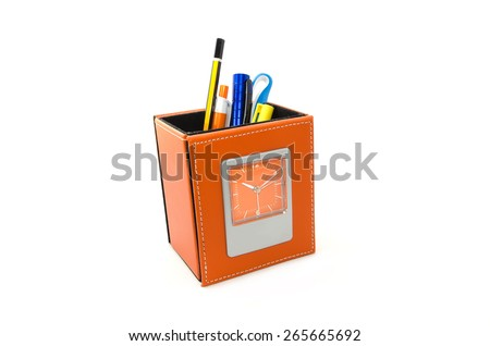 stationery compartment with clock on white background - stock photo