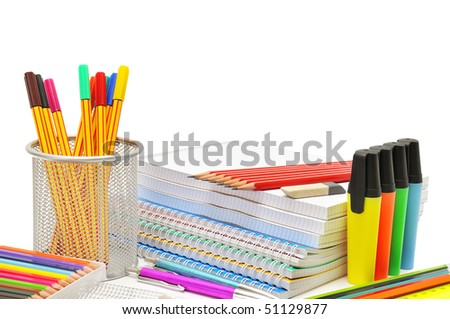 stationery isolated on a white background - stock photo