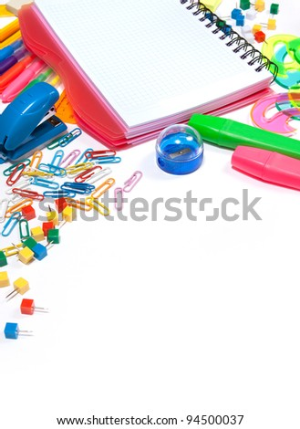 Stationery isolated on a white background. - stock photo