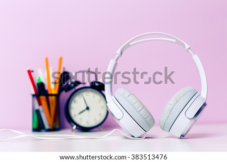Stationery on lilac background