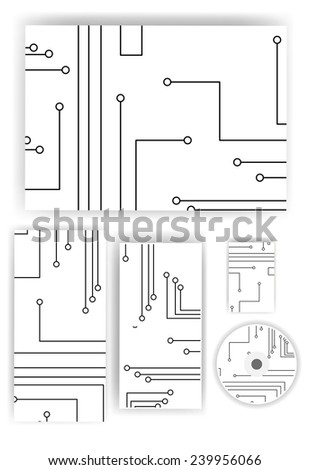 Stationery set for your design, circuit board digital Illustration. - stock photo