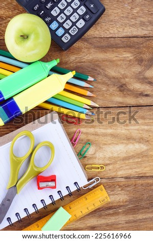 stationery set on a wood. - stock photo