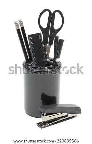 stationery set on the white background - stock photo