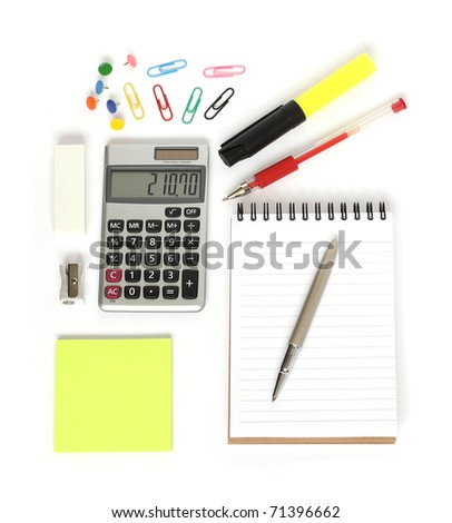 stationery supplies consisting of calculator notepad pens sticky notes paperclips drawing pins sharpener and eraser isolated on white background - stock photo