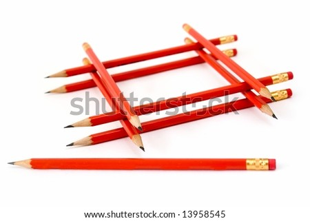Stationery. The sharpen pencils on a white background.