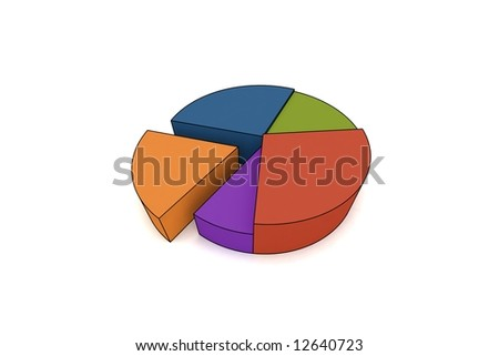 statistics - 3d isolated multicolor diagram