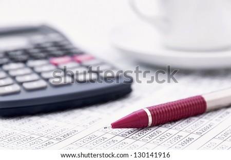 Statistics work in morning - stock photo