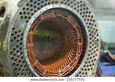 Stator of a big electric motor - stock photo