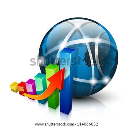 Stats icon. 3D graph growing up and abstract globe - stock photo