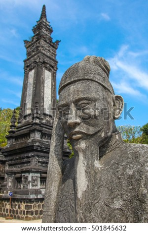 Statue and tower at Khai DInh Tomb Hue - Vietnam. Khai Ding was an Emperor of Vietnam from 1916 til his death is 1925 and built an impressive  complex for his burial.