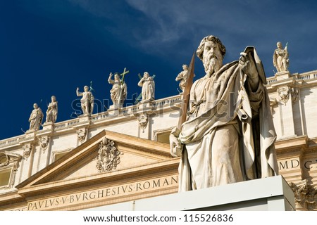 Statue Apostle Paul in front of the Basilica of St. Peter, Vatican - stock photo
