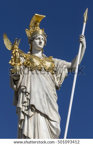 Statue at the Parliament Buildings in Vienna, Austria. The statue is the Goddess of Wisdom, Athena. In her left hand carries a spear, her right carries Nike (Greek goddess of Victory).