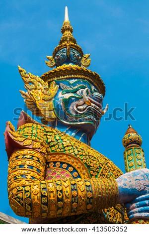 statue at the Royal Palace in Bangkok - stock photo