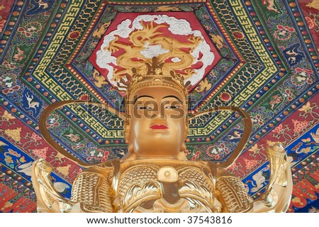 Statue at the temple of the ten thousand buddhas in Hong Kong - stock photo
