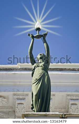 Statue at top of Achilleion palace at Corfu, Greece - stock photo