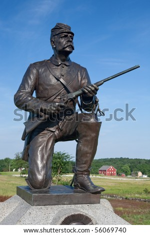 Statue (ca. 1890) of a Pennsylvanian cavalryman at Gettysburg. - stock photo