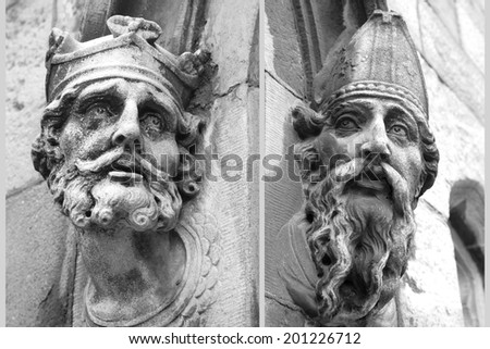 Statue Heads on Dublin Castle B&W