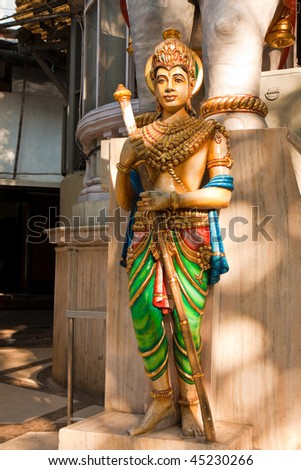 Statue in Front of a Jain temple in Mumbai, India. - stock photo