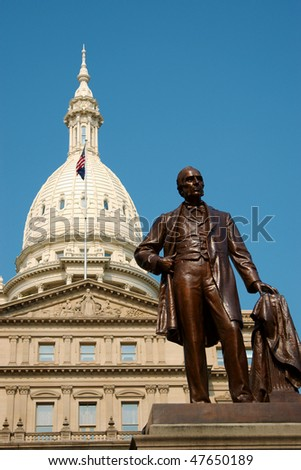Statue in front of Michigan State Capitol Building in Lansing - stock photo