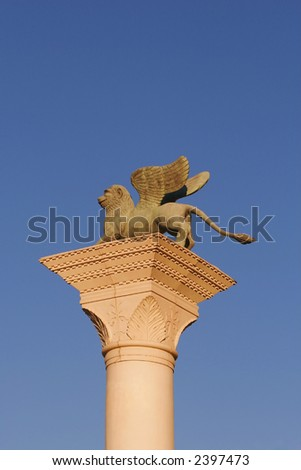 Statue in front of Venetian Resort Hotel Casino Las Vegas Nevada USA - stock photo