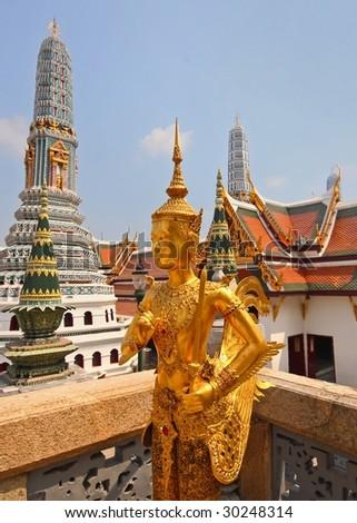 statue in grand palace bangkok - stock photo