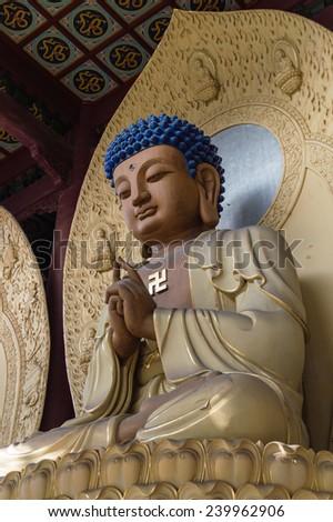 Statue in Lingyin Temple, Hangzhou, Shandong Province, China - stock photo