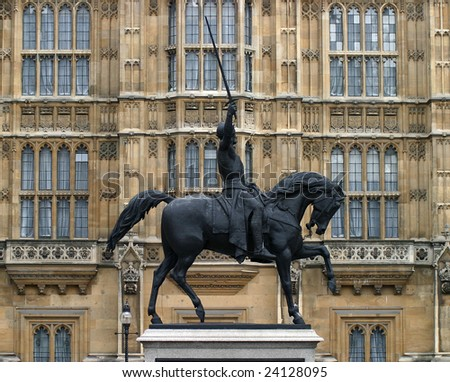 Statue in Parliament of London - stock photo
